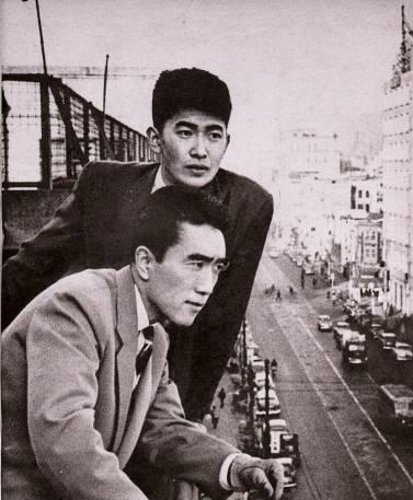 Ishihara Shintaro (top) and Miishima Yukio in Tokyo, 1956